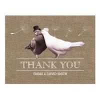 Rustic Burlap Love Birds Thank You Postcard