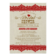 Rustic Burlap & Red Lace Bridal Shower Invitation