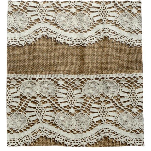 rustic burlap white lace vintage victorian grunge shower curtain zazzle com