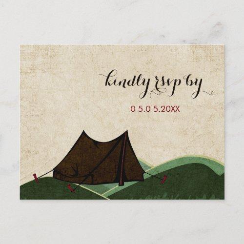 Rustic Camping Wedding RSVP Invitation Postcard