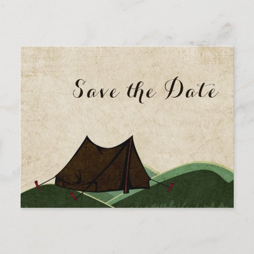 Rustic Camping Wedding Save the Date Announcement Postcard