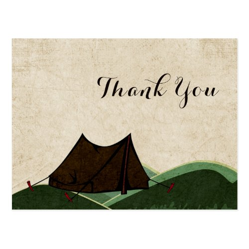 Rustic Camping Wedding Thank You Postcard