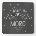Rustic Chalkboard Leaf Heart Script Typography Square Wall Clocks