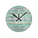 Rustic Coastal Decor Compass Rose Round Clock