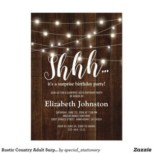 Rustic Country Adult Surprise Birthday Party Invitation