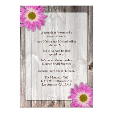 Rustic Country Barn Purple Daisies Bridal Shower Card