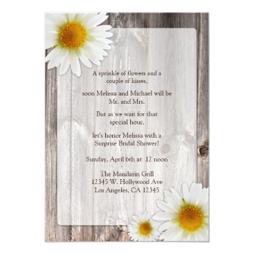 Rustic Country Barn with Daisies Bridal Shower Card
