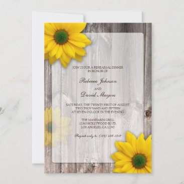 Rustic Country Barn with Daisies Rehearsal Dinner Invitation