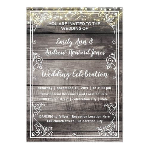 Rustic Country Barn Wood Fairy Lights Wedding Invitation