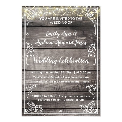 Rustic Country Barn Wood Fairy Lights Wedding Magnetic Invitation