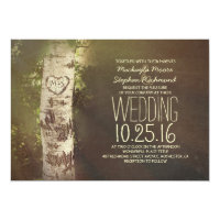 Rustic country birch tree wedding invitations