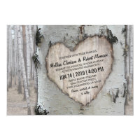 Rustic Country Silver Birch Tree Wedding Card