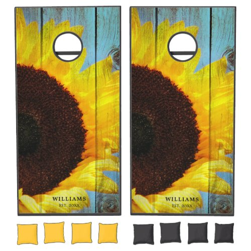 Rustic Country Sunflower Teal Wood Personalized Cornhole Set