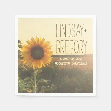 rustic country wedding paper napkins - SUNFLOWER