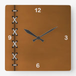 Rustic Crisscrossed Cord Lacing Square Wall Clock