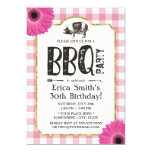 Rustic Daisy Pig Roast BBQ Pink Plaid Birthday Invitation