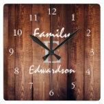 Rustic dark barn wood monogram name square wall clock