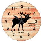Rustic Deer Camp Wood Style Acrylic Clock