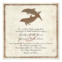 Rustic Dolphins Beach Wedding Invitation