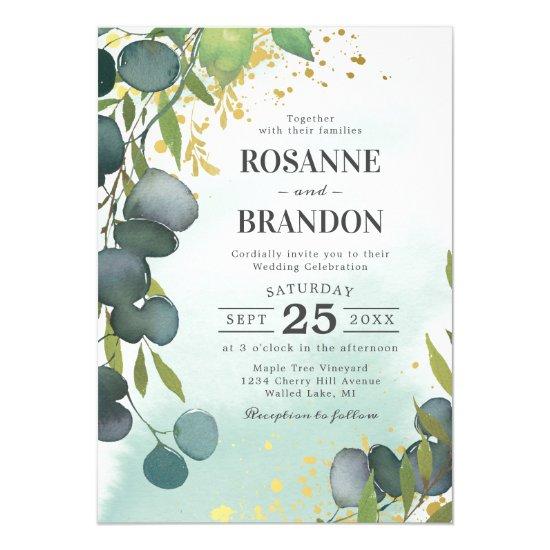 Rustic Dusty Green Botanical Wedding Invitation