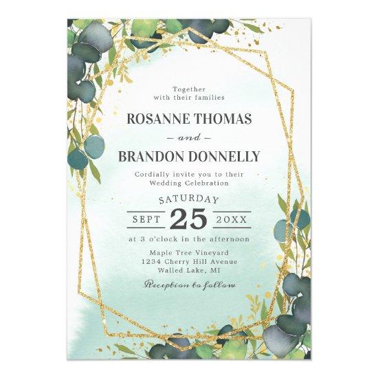 Rustic Eucalyptus Gold Geometric Wedding Invitation