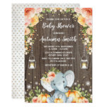 Rustic Fall Elephant Baby Shower Autumn Floral Invitation