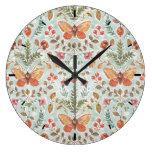 Rustic Fall Foliage Watercolor Pattern Teal Large Clock