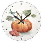 Rustic Fall Pumpkin Watercolor Large Clock