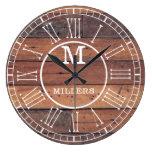 Rustic Family Name Wood Plank Monogram Large Clock
