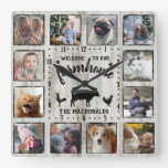 Rustic Farmhouse Wood Cow 12 Family Photo Collage Square Wall Clock