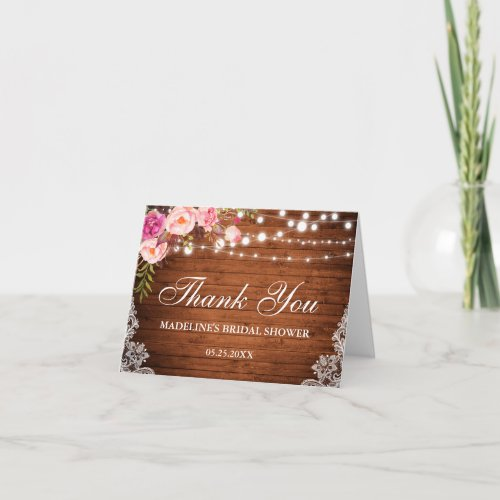 Rustic Floral Bridal Shower Wood Lace Thanks N Thank You Card