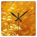rustic,floral,gold,wavy,chic,elegant,pattern,vinta square wall clocks