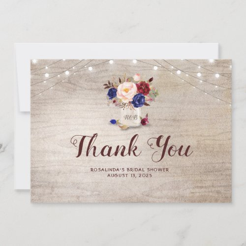 Rustic Floral Mason Jar Bridal Shower Thank You