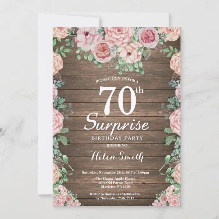 Rustic Floral Pink Peonies Surprise 70th Birthday Invitation Zazzle Com