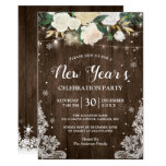 Rustic Floral String Lights New Year's Party Invitation