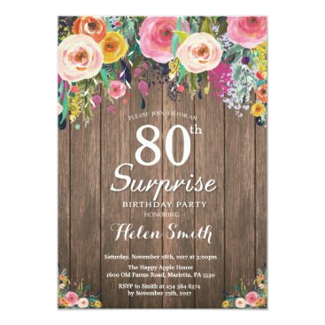 Rustic Floral Surprise 80th Birthday Invitation