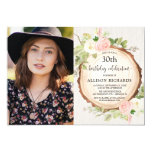 Rustic floral woodland women birthday photo invitation