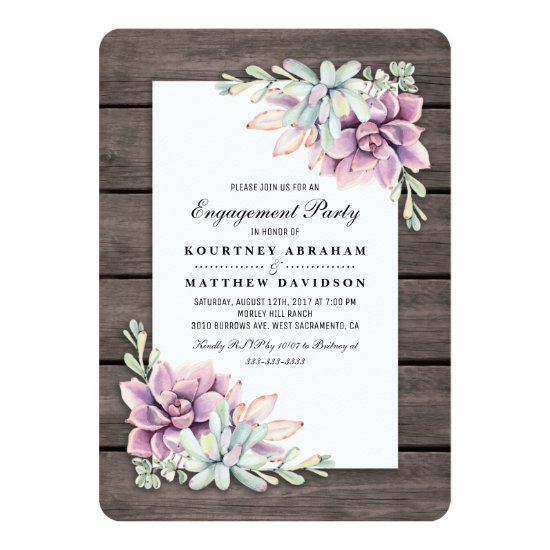 Rustic Garden Succulent Floral Engagement Party Invitation