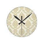rustic gold,beige,vintage,damasks,victorian,floral round clock