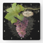 Rustic Grapes on Vine Vintage Personalized Name Square Wall Clocks