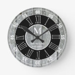Rustic Gray Wood Monogram Roman Numeral Farmhouse Round Clock