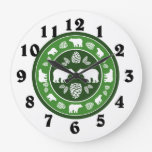 Rustic green bear pinecone round clock