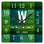Rustic Green Wood Custom Monogram Family Name Square Wall Clock