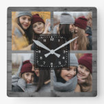 Rustic Grey Wood 4 Pictures Family Photo Collage Square Wall Clock