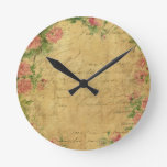 Rustic,grunge,paper,vintage,floral,text,roses,rose Round Wall Clock