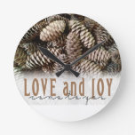 Rustic Holiday Love and Joy Pine Cone Round Wallclocks