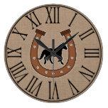 Rustic Horseshoe and Black Horse Faux Burlap Large Clock