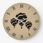 Rustic Hot Air Balloons w Numerals Large Clock