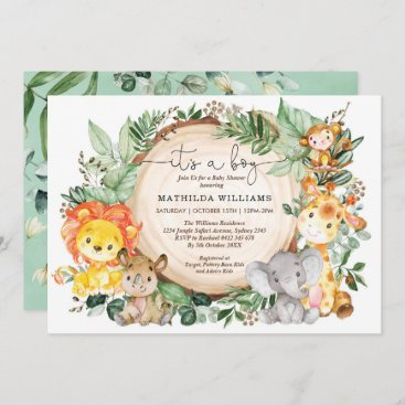 Rustic Jungle Greenery Wild Animals Baby Shower Invitation