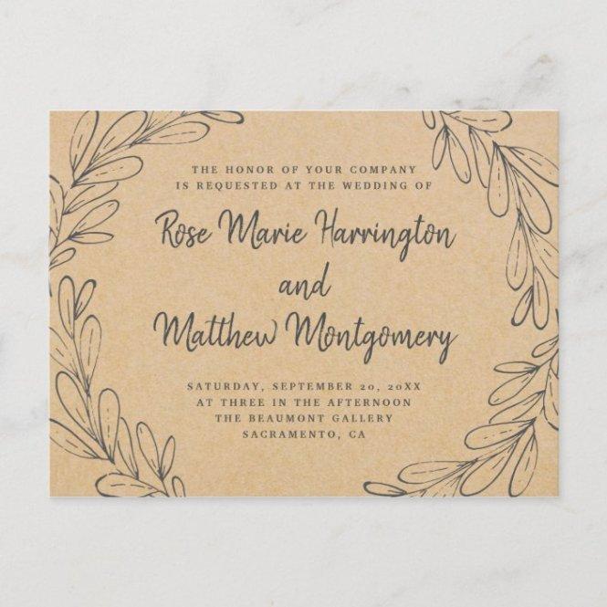Hand Drawn Leaves Wedding Invitation